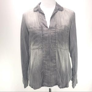 Chelsea & Violet Grey Chambray Pullover Top Small
